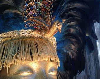 Beaded Peacock Feathered Headdress