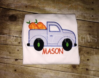 Customized Easter Truck with Carrots Applique T-Shirt