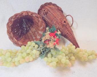 2 Wicker Cornucopia Horns | vintage harvest decor | vintage wicker cornucopia baskets | vintage wicker decor | vintage home decor