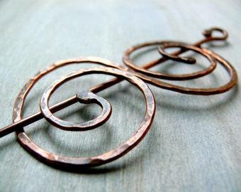 Celtic Shawl Pin, Double Coil Hair Barrette, Copper Scarf Pin, Kilt Pin, Celtic Brooch, Hair Pin, Handmade Copper Jewellery, Cloak Clasp
