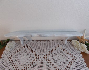 White Shabby Chic Wall Shelf Up Cycled Vintage Rustic Distressed Wood Curio Plate Display Beach Cottage French Country Farmhouse Home Decor