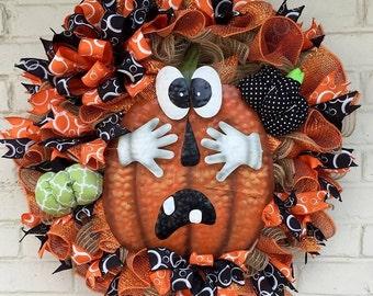 Jute Halloween Shy Pumpkin/Jack-O-Lantern Wreath, Halloween Wreath, Pumpin Wreath