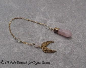 Angelic Rose Quartz Dowsing Pendulum (DP0212)