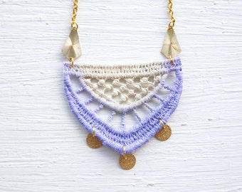 Lavender and Ivory Ombre Lace and Gold Necklace