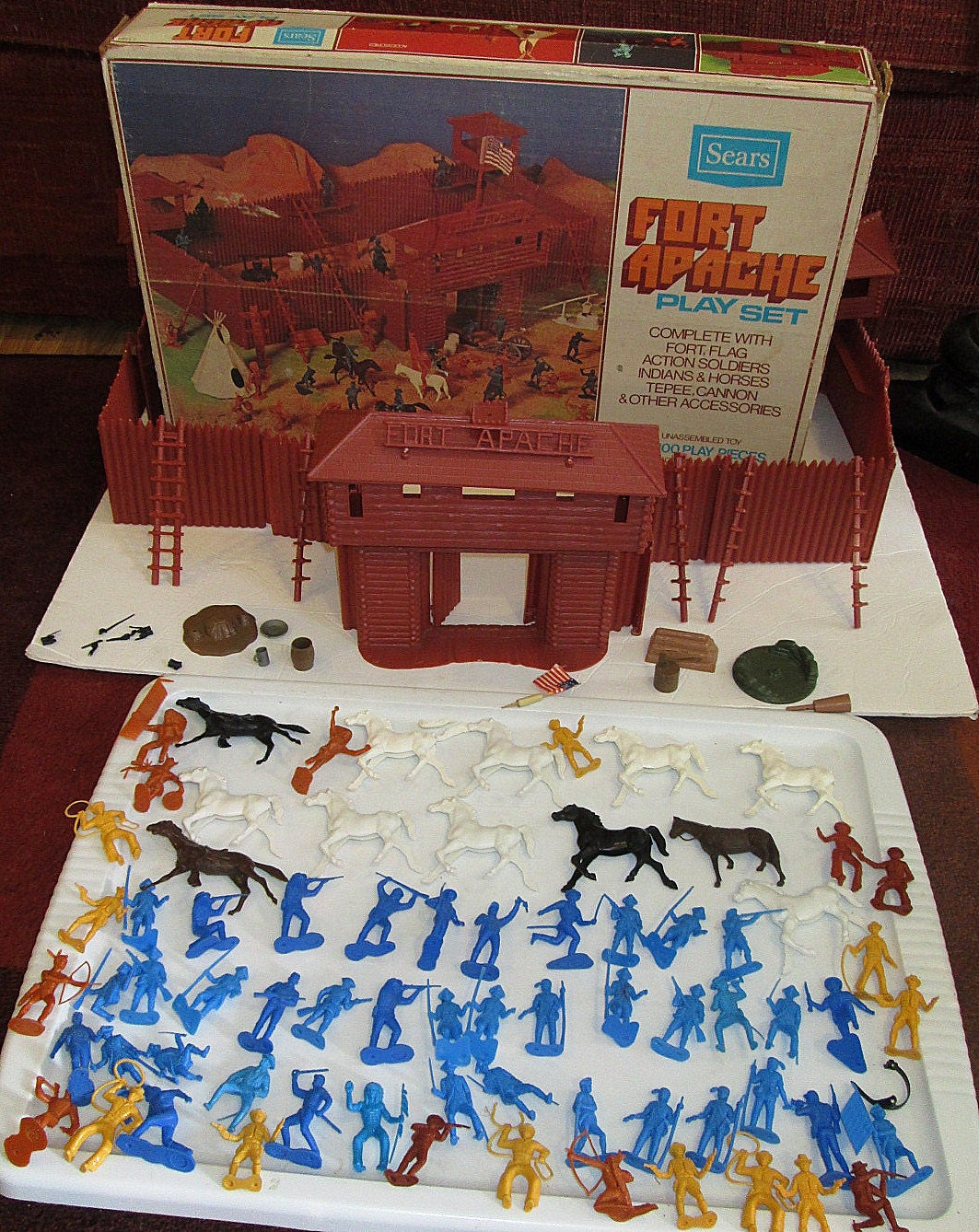 Marx Fort Apache Playset In Box Sears Exclusive Toy 1970 S