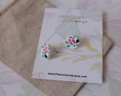 Cute as a Button - Round Colourful retro pattern wood stud earrings