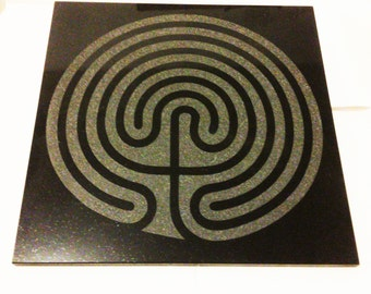 "Seven Circuit Labyrinth Meditation / Altar Tile - 12"" x 12"" etched tile"