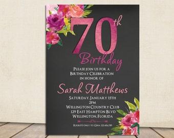 Th Birthday Invitation For Her Birthday Invitations For - 70th birthday invitation images