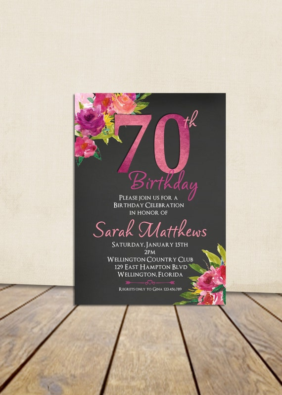 70th Birthday Invitation, Surprise Birthday Invitation, Any Age Adult Birthday, Fuscia and Rose Printable Invitation