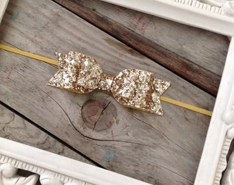 Gold Glitter Hair Bow Headband Newborn Photo Prop Baby Girl Headbands Holiday Headband Christmas Baby Headbands