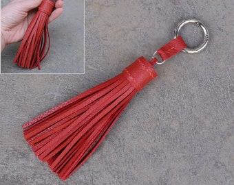 LARGE Type -Garnet Red Unique and Chic Hand Stitched Cowhide Leather TASSEL Key Chain or Bag Charm-(Pls choose Key Ring color)