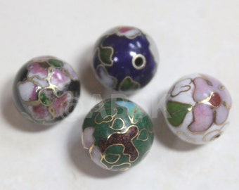 2pc Metal Vintage Cloisonne Beads 12mm Round Ball Shape w Flower - Pick Color