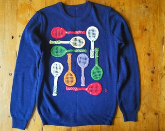 "Vintage 1970's Embroidered Preppy ""Tennis is my Racket"" Sweater, Size S"