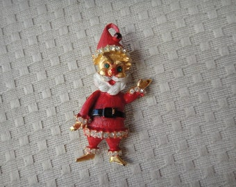 Rare Santa Christmas Pin Brooch Red-Tone