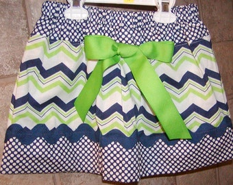 Girls Skirt Custom ...Chevron N Blue Dots...Available in 0-12mon,1/2,3/4,5/6,7/8, 9/10 Bigger Sizes Available