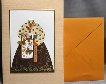 Hanbok with a traditional butterfly scarf design - Hanbok Card - Korean Traditional Cloth Hanbok