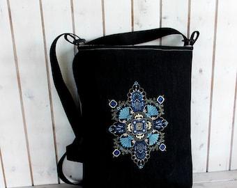 Blue diamond embroidered Bohemian tote bag Canvas bag  crossbody, shoulder bag, folk embroidered bag, market tote bag, Hungarian folk