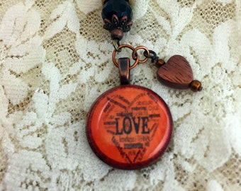 Lucky in Love Penny Pendant      Coin Pendant   Penny Pendant       Affirmation Pendant        item 875