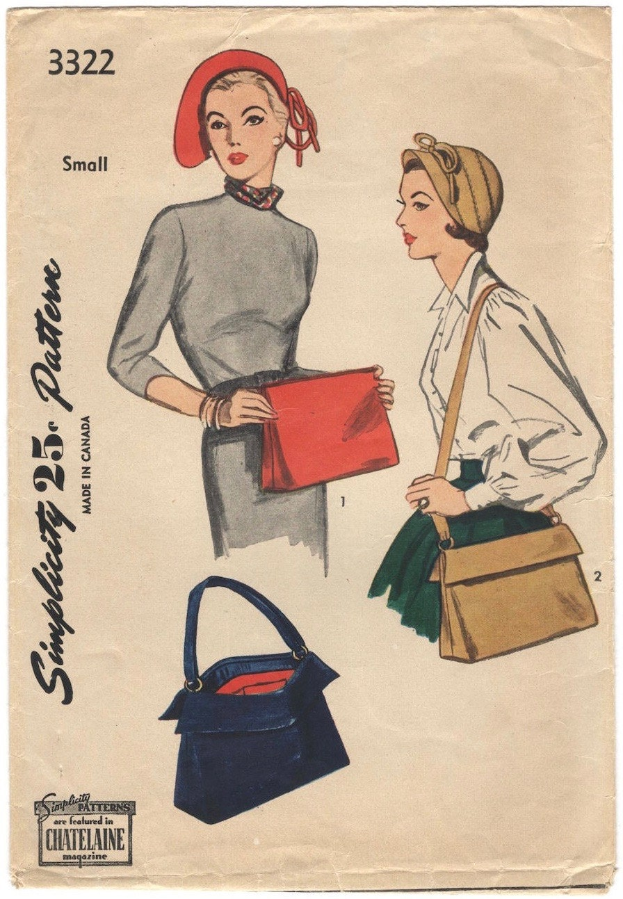 1950s Sally Victor hat and bag pattern, Simplicity 3322