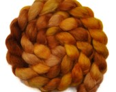 Hand painted spinning fiber - Wensleydale wool combed top roving - 4.2 ounces - Sand In My Shoes