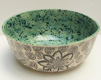 ceramic bowl decorative; hand built pottery; ceramics and pottery; Sgraffito pottery; ceramic art
