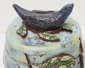 ceramic bird jar; ceramics and pottery; ceramic art