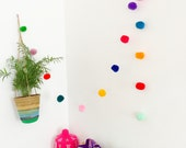 Multicolor pompoms garland - 6ft - colorful wall decoration kids and babies room