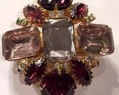 Vintage Purple Rhinestone Brooch