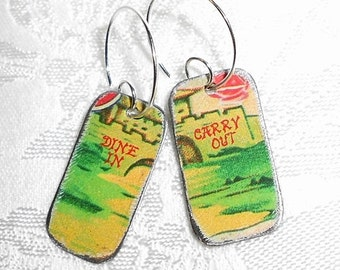 SALE Recycled Tin Earrings, Chinese Food Dine In - Carry Out Restaurant Earrings - Portlandia - ish Tin Box Earrings at their Finest!