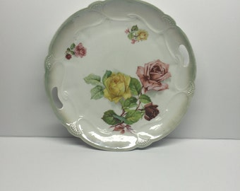 Mitchell Woodbury Company Cake Plate Early 1900 Rose Hand painted in Germany Cabbage Maddock Sons Lamberton Works