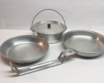 Vintage Camping Mess Kit Complete 6 Piece Boy Scout Military Mess Kit Aluminum