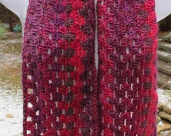 """Crocheted Scarf - Winery Reds - Soft & Lacy - 6"""" X 55"""" - Boutique Acrylic Yarn - Neck Warmer"""