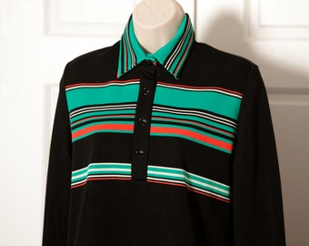 Vintage 70s Retro Collared Top - DEVON - L