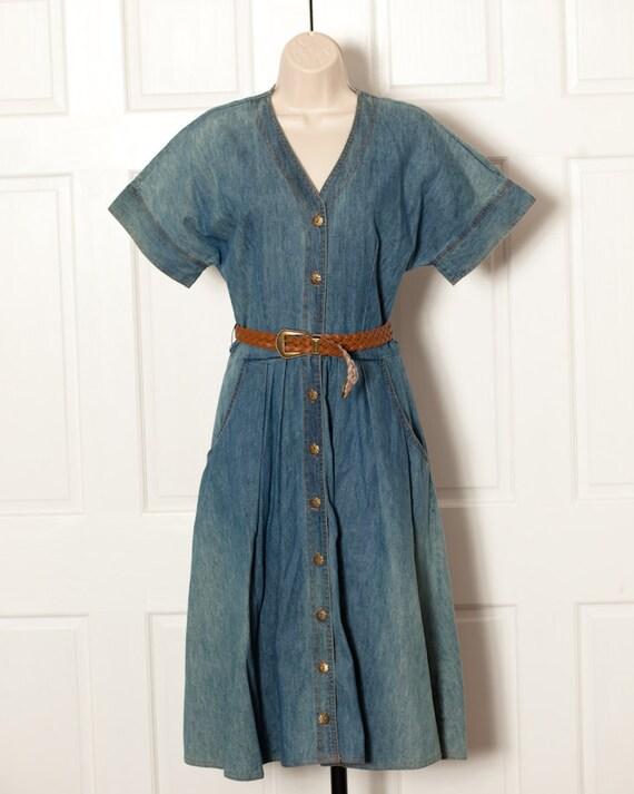 vintage womans denim dress with brown belt stuart allen