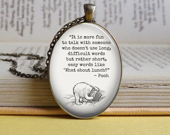 Silver or bronze oval Winnie The Pooh and Piglet 'What about lunch?' glass dome pendant necklace (Winnie quote, fun)