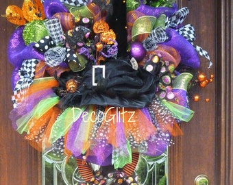 TUTU WITCH Wreath with a Large Black WITCH Hat and Cute Witch Legs with Orange Sequined Shoes