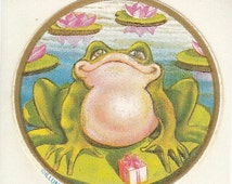 ON SALE Rare Vintage Illuminations Frog on a Lilypad Sticker - 80's Lily Toad Pond