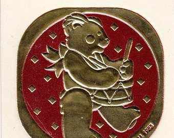 ON SALE Rare Vintage Illuminations Embossed Foil Little Drummer Bear Sticker - 1983 Drum Teddy Bear Gold Scarlet