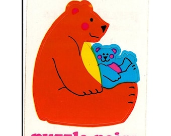 ON SALE Rare Vintage Illuminations Puzzle Pairs Adorable Teddy Bears Mom and Child Sticker 1983