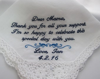 Mother of the Groom embroidered wedding handkerchief