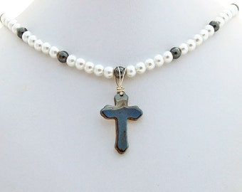 Hematite Cathedral Cross Crystal Pearl Pendant Necklace