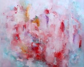 Original large abstract painting contemporary artwork Pomegranate inspiration red pink blue emotional art