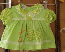 70s green gingham baby dress with cat and mouse motif by Catton Candy