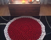 Root Chakra Meditation Prayer Rug Mat Crochet Circle Red White Spititual Healing