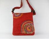 Red felt Bag - Handmade felted over shoulder bag - Felted Urban Bag - Handmade messenger bag - Statement felted bag - Gift for her
