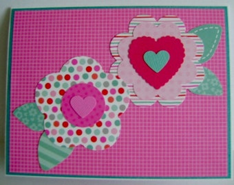 Hearts and Flowers Valentine note card