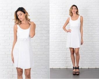 White + Cream Mini Dress Vintage 90s  Crochet Floral Lace Gingham Checkered S 8061 white dress cream dress vintage dress floral dress
