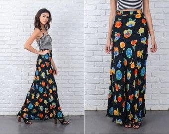 Vintage 80s Black Maxi Skirt Vivid Flower Print Retro Medium M 7166