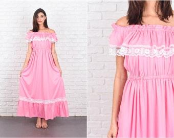 Vintage 70s Pink Maxi Dress Boho White Floral Lace Cape Slv Medium M 7252