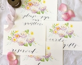"""Wedding Sign Set of 4 'Welcome, Reserved, Please Sign, Cards and Gifts' Watercolour & Calligraphy each 5 1/2 x 8"""""""